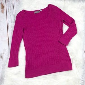 Croft & Barrow Pink Scoop Neck Cable Knit Sweater